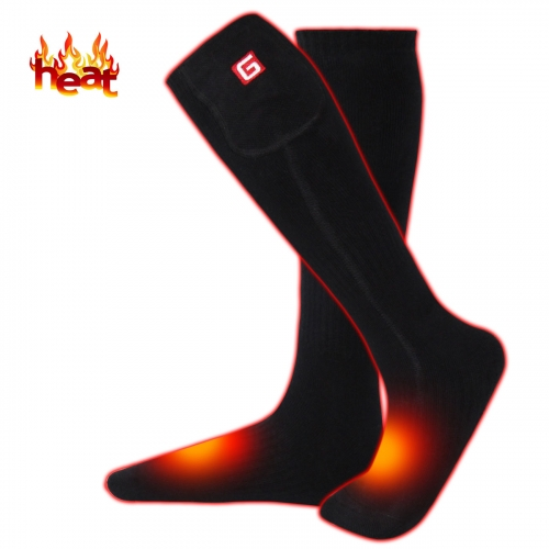 3.7V Electric Heated Sock Unisex Warm Thermal Socks Rechargeable Battery Foot Warmers Winter Ideal Presents,Perfect for Indoor Outdoor(Black-one size)