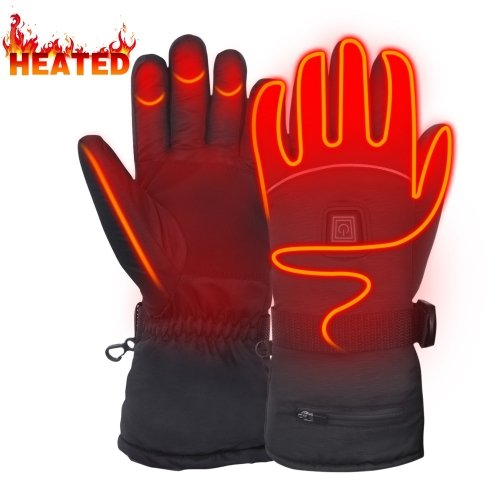 7.4V Heated Gloves Waterproof Rechargeable Battery Heated Gloves Touchscreen  Hand Warmer Gloves for Cold Winter(L)