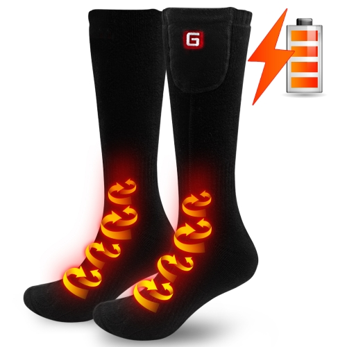 2.4V Heated Socks for Chronically Cold Feet (Black-one size)