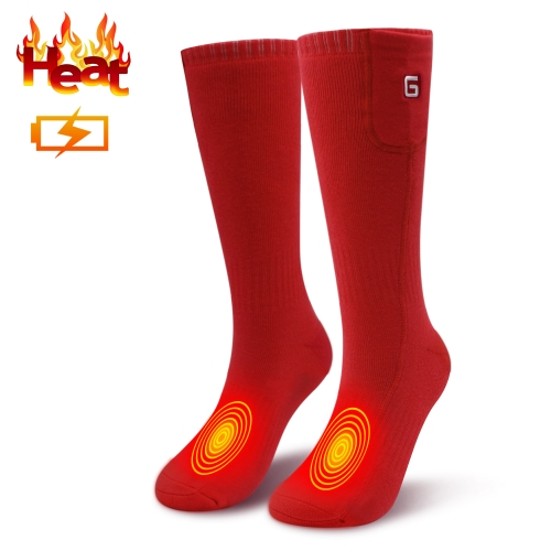 3.7V Rechargeable Battery Heated Socks Thick Knitting Electric Heated Socks,Winter Unisex Socks Ideal Gift,Perfect for Fishing/Hiking(Red-one size)