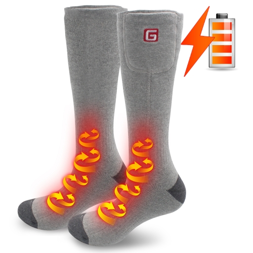 2.4V Heated Electric Warm Heated Socks Chronically Cold Feet, Indoor Outdoor Sport Thermal Socks Men Women(Gray-one size)