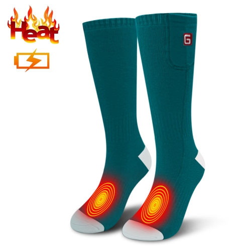 3.7V Heated Socks Thick Knitting Electric Heated Socks,Winter Unisex Socks Ideal Gift for Men & Women(Green white-one size)