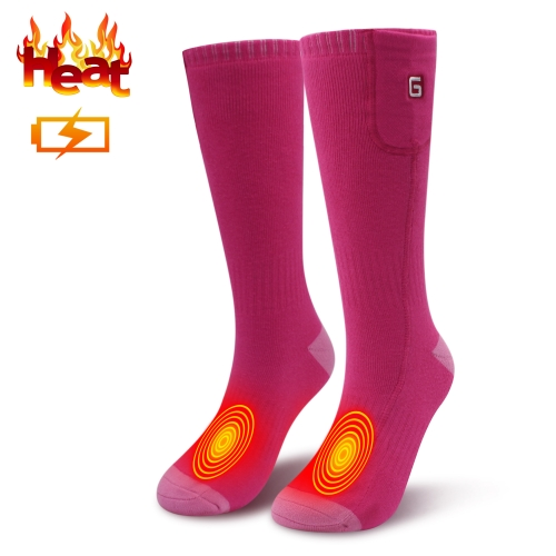 3.7V Electric Heated Socks Thermal Socks Rechargeable Battery Foot Warmers Winter Ideal Presents For Men Women (Pink-one size)