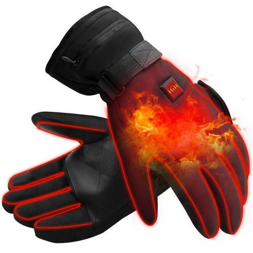 3.7V Electric Heated Gloves Windproof Winter Warm Rechargeable Battery Operated Heated Gloves For Men Women Perfect for Indoor Outdoor Activities(L-wi